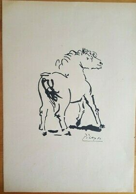 PABLO PICASSO Drawing Hand Signed