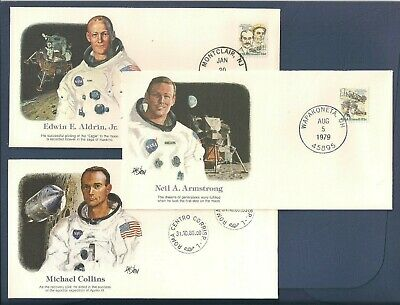 Apollo 11 Astronauts - First Moon Landing - Set Of 3 Commemorative Envelopes