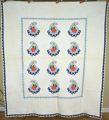 WELL QUILTED Vintage 30's Floral Poppy Tulip Paisley Applique Antique Quilt!