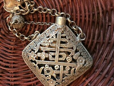 Chinese Tibetan Silver Chatelaine Vinaigrette Happiness Good Luck Wealth Amulet