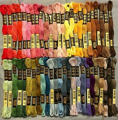 50 Skeins New DMC Embroidery Floss -Variety of colors -No Duplicates - Lot 102AA
