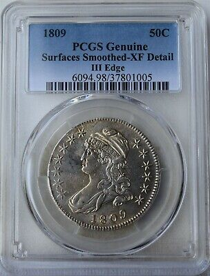 """1809 """"III Edge""""Capped Bust Half Dollar """"PCGS XF Surfaces Smoothed"""""""