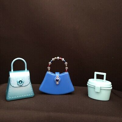 Barbie Doll Purse Lot Accessories Mattel 3pcs Blue