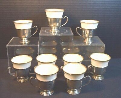 Nine Lenox Porcelain Demitasse Cups in Webster Sterling Holders