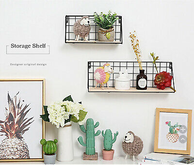 Wooden Iron Wall Shelf Wall Mounted Storage Rack Organization For Kitchen Bedroo