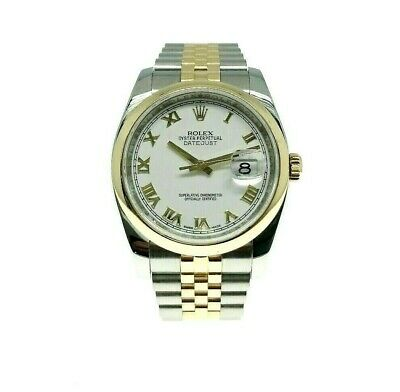 Rolex 36 MM Datejust Watch 18K Yellow Gold Stainless Steel Ref 116203 M Serial