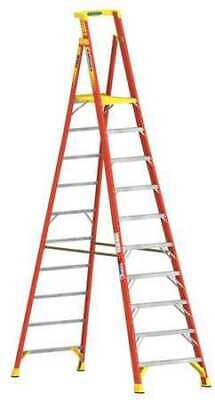 WERNER PD6210 13 ft. Fiberglass 300 lb. Capacity Podium Stepladder IA
