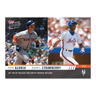 2019 Topps Now #418 Pete Alonso Ties Darryl Strawberry Mets Rc Record /910Pr