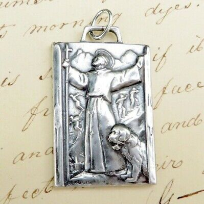 St Bernard Large Medal - Sterling Silver Antique Replica