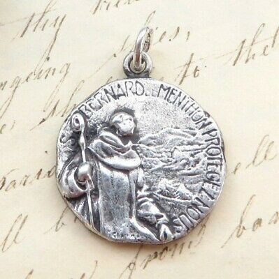 St Bernard Medal - Sterling Silver Antique Replica