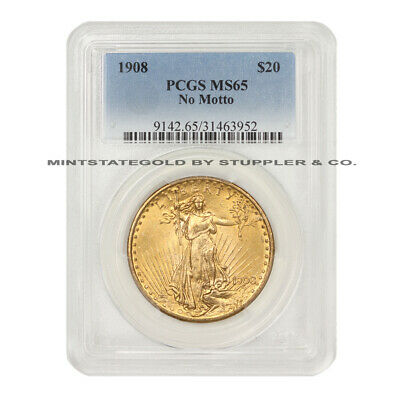 1908 $20 Gold Saint Gaudens Double Eagle PCGS MS65 NM gem graded No Motto coin