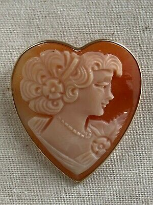 Vintage Retro 14K Gold Heart Shape Hand Carved Shell Cameo Pin Brooch 1950s sign