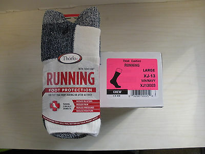 Thorlo -6 Pair- Xj-13 Mens Crew Thick Cushion Running Sport Socks- Mens 9 -12.5