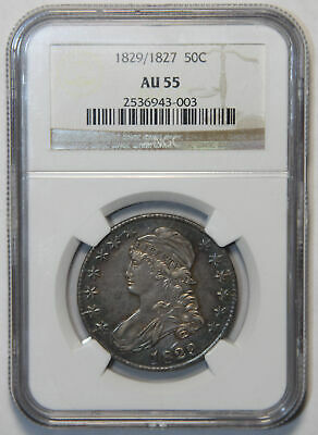 1829/1827 Capped Bust Half NGC AU55, Blue and Gold Toning