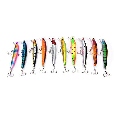 Hot!Fishing Bass Lures Diving Crankbait Minnow Treble Tackle Hooks Baits 9.5c UP