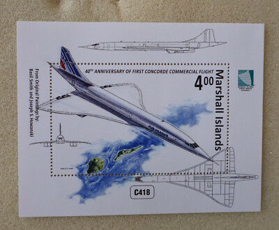 2016 MARSHALL ISLANDS THE CONCORDE 40th ANNIV 1ST FLIGHT STAMP MINI SHEET