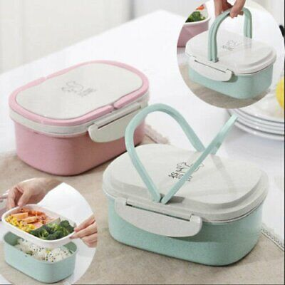 Portable 2 Layer Lunch Box Bento Picnic Student School Fruit Food Container Case
