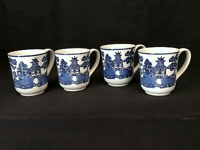 """Blue Willow Mugs 5"""" Wide Made In England Set Of 4 With Two Sets Available"""