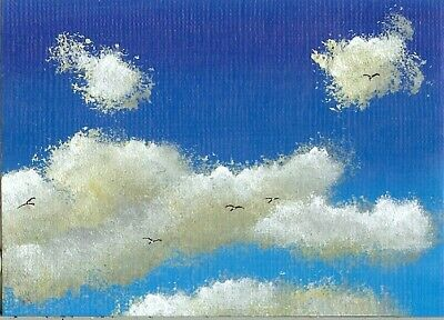 ACEO ORIGINAL Acrylic Summer Clouds Sky Cloudscape Birds ATC Art Painting HYMES