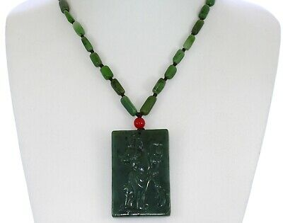 """2.4"""" China Certify Nature Hetian Nephrite Green Jade The God of Wealth Necklace"""