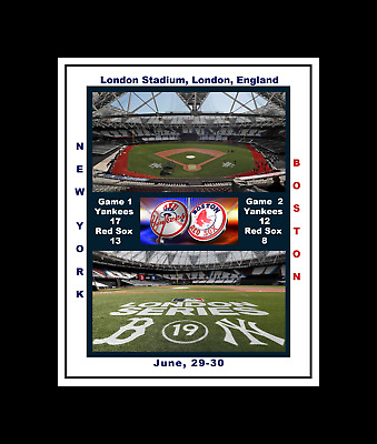 New York Yankees @ Boston Red Sox London Series Matted Multi Image Collage Photo