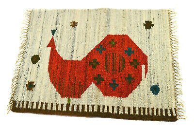 Vintage Mid Century Scandi-Mexican Handwoven Wool Petite Rug, Great Bird Design