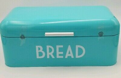 Vintage BREAD BOX For Kitchen Stainless Steel Metal in Retro Turquoise Scratched