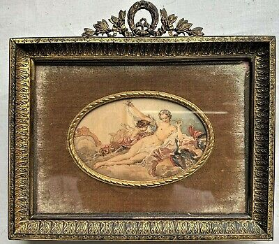Antique French Miniature Silk Painting of Nude Cherub Gilt Bronze Frame 19th C.