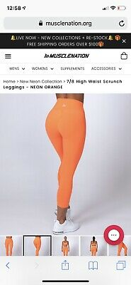 WORN ONCE - SIZE SMALL - Muscle Nation Neon Orange 7/8 Scruntch Bottom Tights