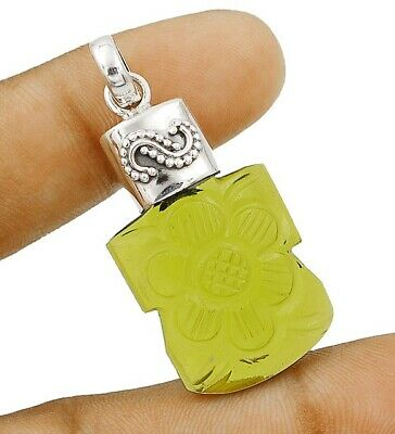 40CT Hand Carved Peridot 925 Sterling Silver Pendant Jewelry, C27-9