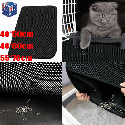Waterproof Double-Layer Cat Litter Mat Trapper Foldable Pad Honeycomb Design Rug