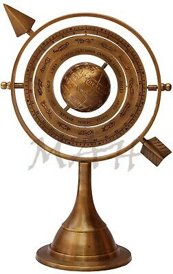 """Antique Brass Armillary Sphere With Arrow 10.5"""" Nautical Maritime Engraved Globe"""