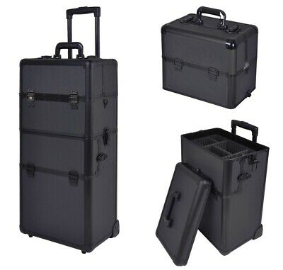 2in1 Aluminum Rolling Makeup Case Lockable Artist Cosmetic Train Box with Mirror