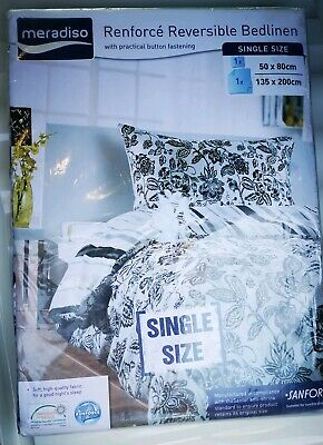 Flannelette Reversible Single Bed Duvet Cover Set Meradiso BNWT