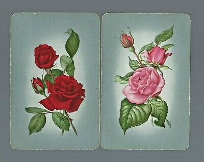 Vintage Swap Playing Card  FLOWERS x2