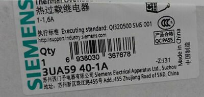 Siemens    3UA5940-1A  1-1.6A   Thermal  relay New #YY0