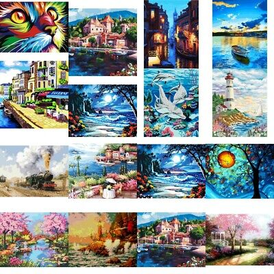 AU DIY Digital Animal Scenery Oil Painting By Number Kit Canvas Paint Home Decor