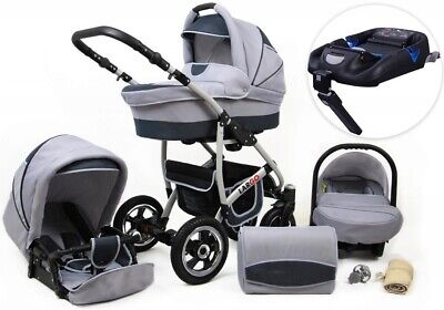 New Baby Largo 3in1 Pram Pushchair Buggy Stroller Car Seat Base Isofixe Travel