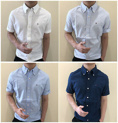 New Tommy Hilfiger Shirt Mens Short Sleeve Button down Custom Fit  casual shirt