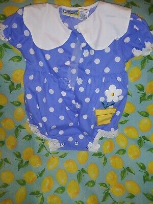 Adorable Vintage Baby Girls Polka Dot Floral One Piece Sz 6-9