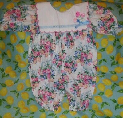 Adorable Vintage Baby Girls One Piece Smocked Floral Romper Sz 3-6 M