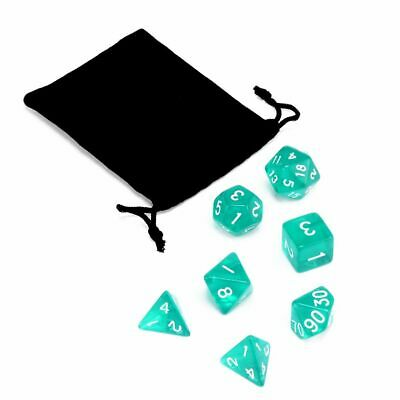 Lots 7 Piece Translucent Polyhedral Set Cloud Drop Teal DnD RPG With Dice Bag