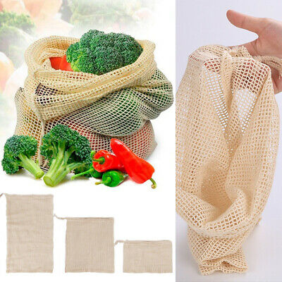 1PC Reusable Grocery Fruit Vegetable Bag Cotton Mesh Drawstring Biodegradable