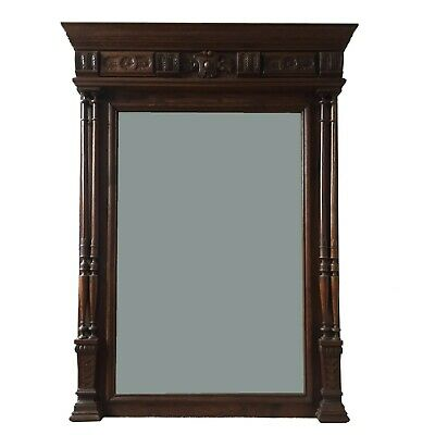 Beautiful French Original Vintage Wooden Mirror with lovely hand carved detailin