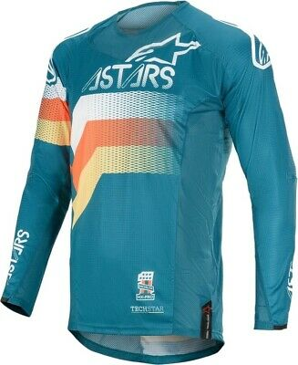 2020 Alpinestars Techstar Venon Petrol White Flo Orange Motocross MX Jersey