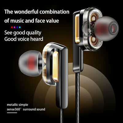 Dual Drive Wired Headphone Stereo Music In-Ear Headphones Super Bass Headsets