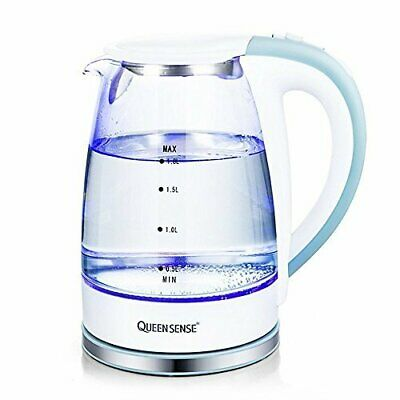 Queensense Electric Glass Kettle 1.8 Liter Blue LED Illuminated Portable Office
