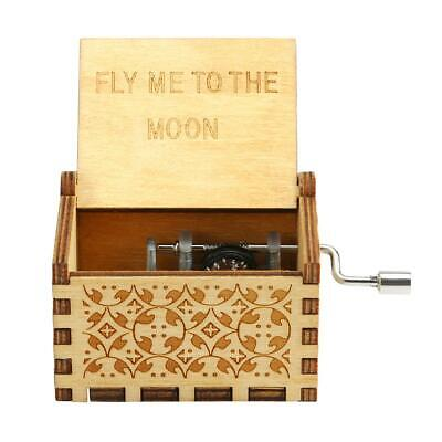 Retro Wood Music Box Antique Hand Cranked Musical Case Home Ornament Gifts