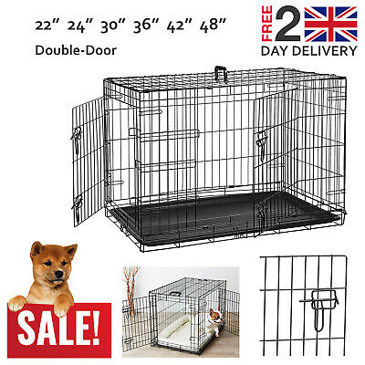 "Dog Puppy Metal Training Cage Crate Black Double-Door 22"" 24"" 30"" 36"" 42"" 48"""