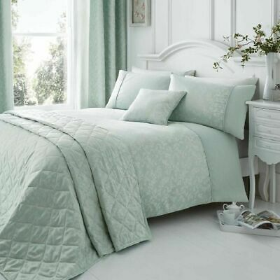 Ebony Duck Egg Woven Damask Quilt/Duvet Cover Sets & Matching Curtains Available